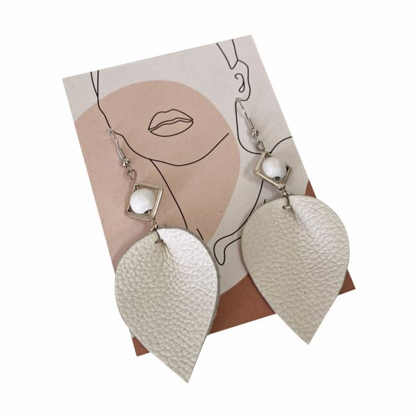 Good Golly Gift Shop Leather Earrings Leaf 2