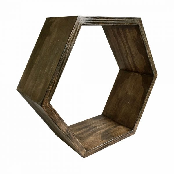 Good Golly Hexagon Shelving wood stained