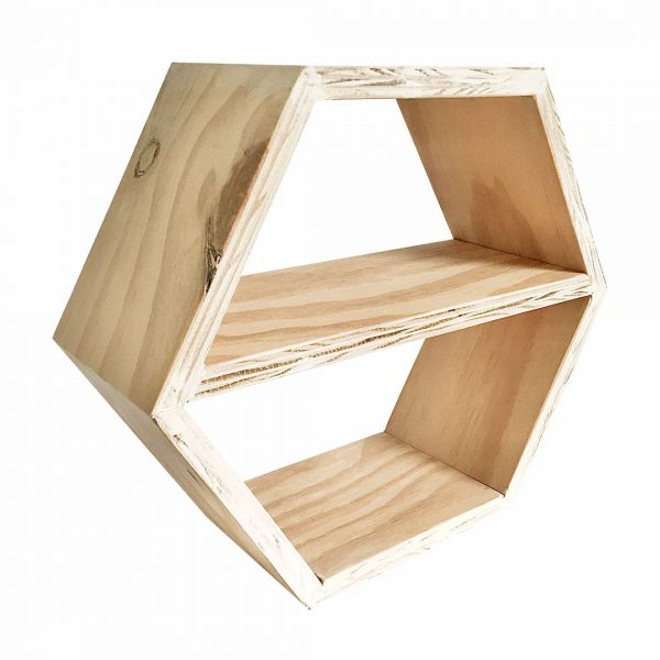 Good Golly Hexagon Shelving with Middle Shelf from Wood