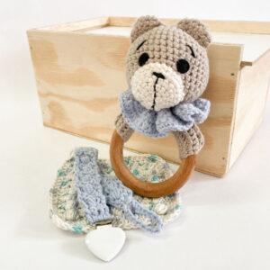 Good Golly Kikker & Kie Baby Keepsake Gift Box With Rattle Dummy Clip and baby Washcloth Bear Theme