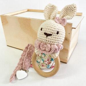 Good Golly Kikker & Kie Baby Keepsake Gift Box With Rattle Dummy Clip and baby Washcloth Bunny Theme