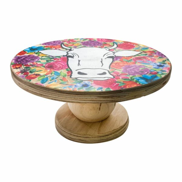 Good Golly Mooerse Mooi Cake Stand Cow Floral Colourful