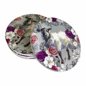 Good Golly Mooerse Mooi Ceramic Coasters Sheep Floral