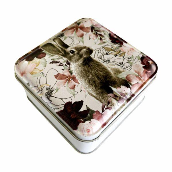 Good Golly Mooerse Mooi Printed Gift Tin Square Rabbit Floral