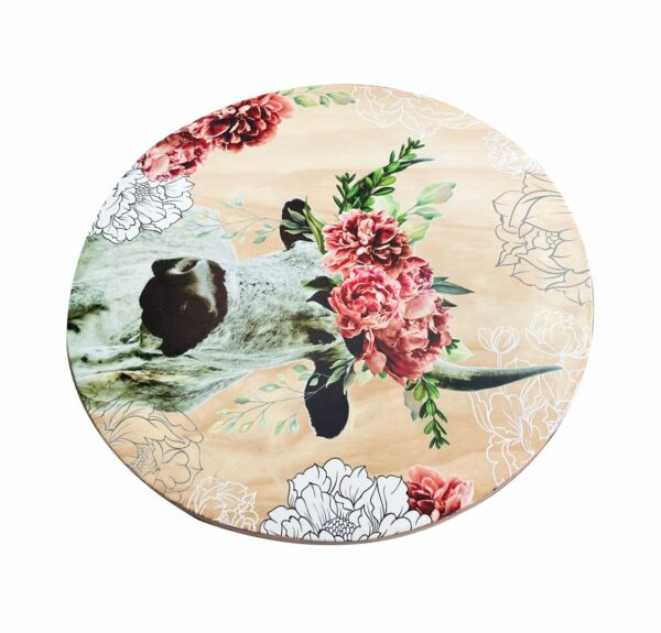 Good Golly Mooerse Mooi Wood Cheese Board Serving Tray Nguni Cow with Florals