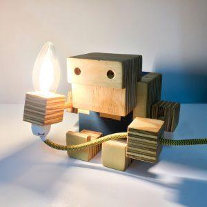 Good Golly Robot Handmade Wooden Lamp for Kids Room Boys