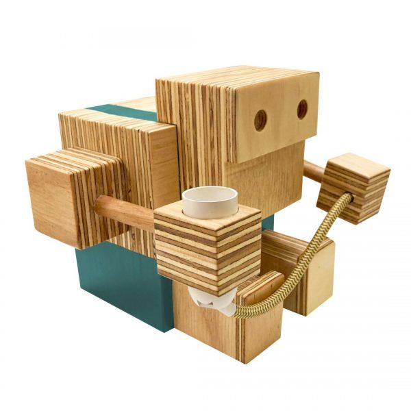 Good Golly Robot Handmade Wooden Lamp for Kids Room Boys Turquoise