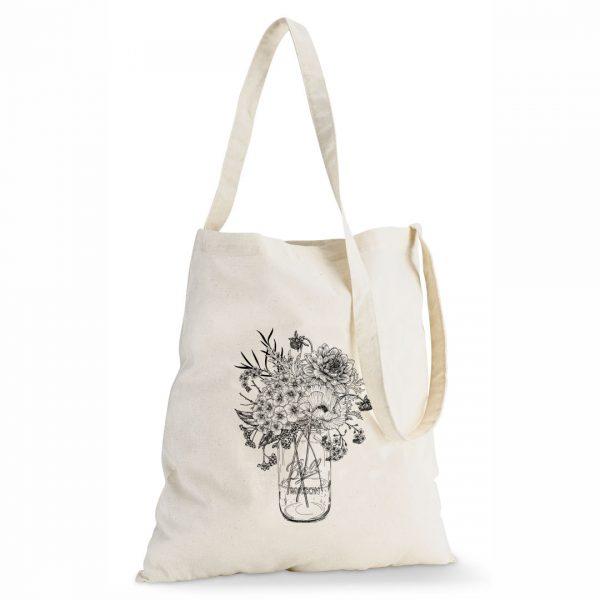 Good Golly Tote Sling Bag Cotton Mason Jar Floral design