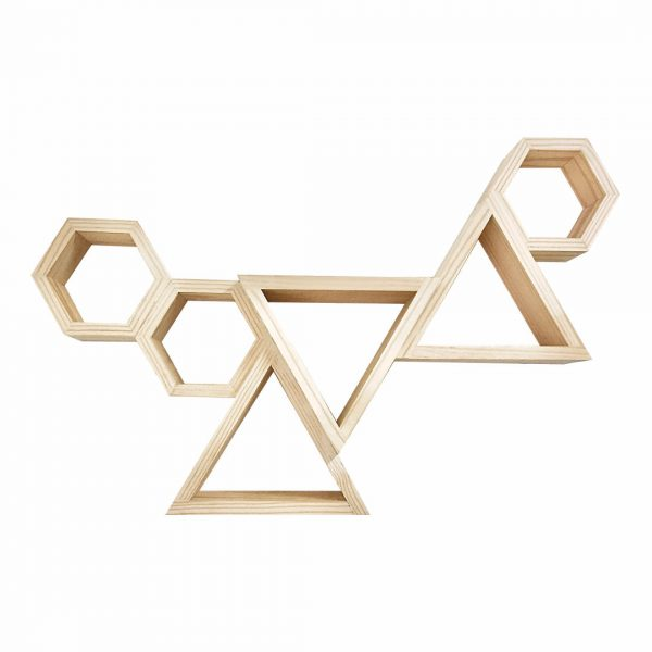 Good Golly large hexagon and triangle shelving display unit